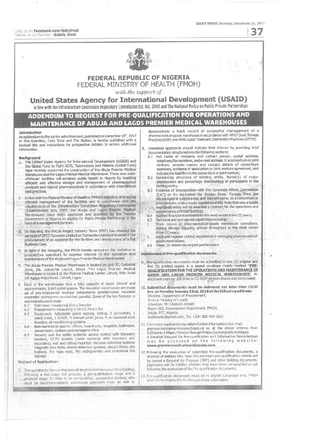 ADVERTORIAL: Addendum to request for pre-qualification for
