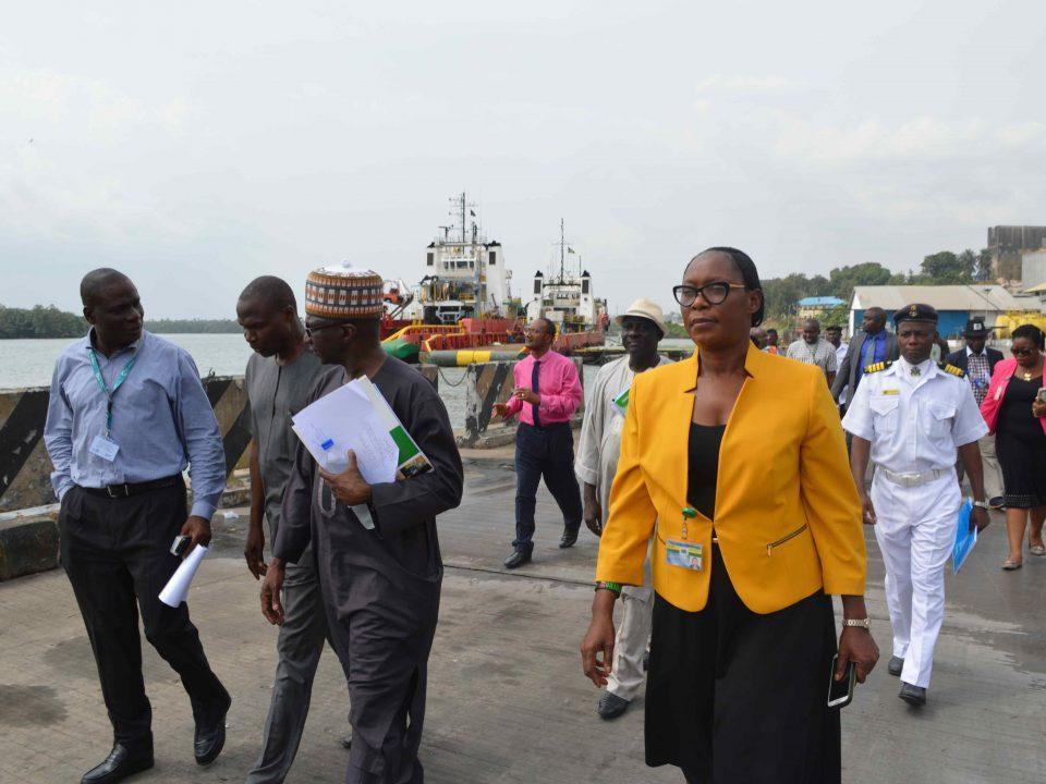 ICRC DG, Mr. Aminu Diko (3rd left), Larry Idehen, Base Manager, Shoreline Logistics Nig. Ltd (1st left); Mr. Joshua Asanga, GM Eastern Ports (2nd left); Mrs B. N. Ekanem, Legal Adviser NPA, Calabar Ports (4th left), during a monitoring visit to Old NPA Port in Calabar, currently under concession to Shoreline Logistics Nigeria Ltd.